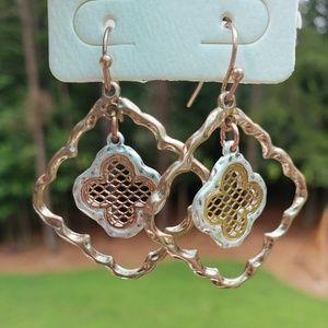 Jewelry - Rose Gold & Silver Tone Quatrefoil Earring